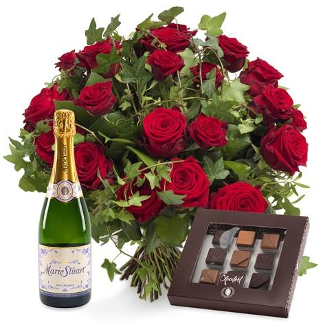 send chokolade og blomster